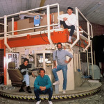 1991- Tom Philabaum, Michael Joplin, Leah WIngfield, and Stephen Clements at the 1st rotating mirror kiln for casting telescopes at the U of A